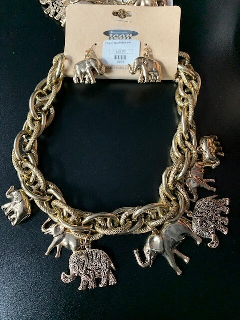 Silver/Gold Elephant Statement Necklace Set OR Bracelet