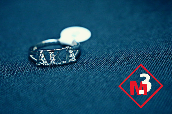 Sterling Silver Letter Ring- Alpha Kappa Alpha™ -Greek_Paraphernalia - M3 Greek