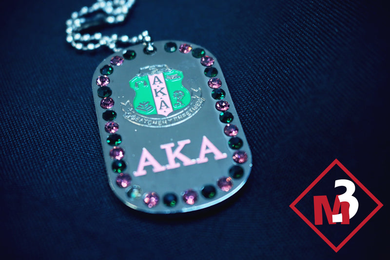 Rhinestone Dog Tags - Alpha Kappa Alpha™ -Greek_Paraphernalia - M3 Greek