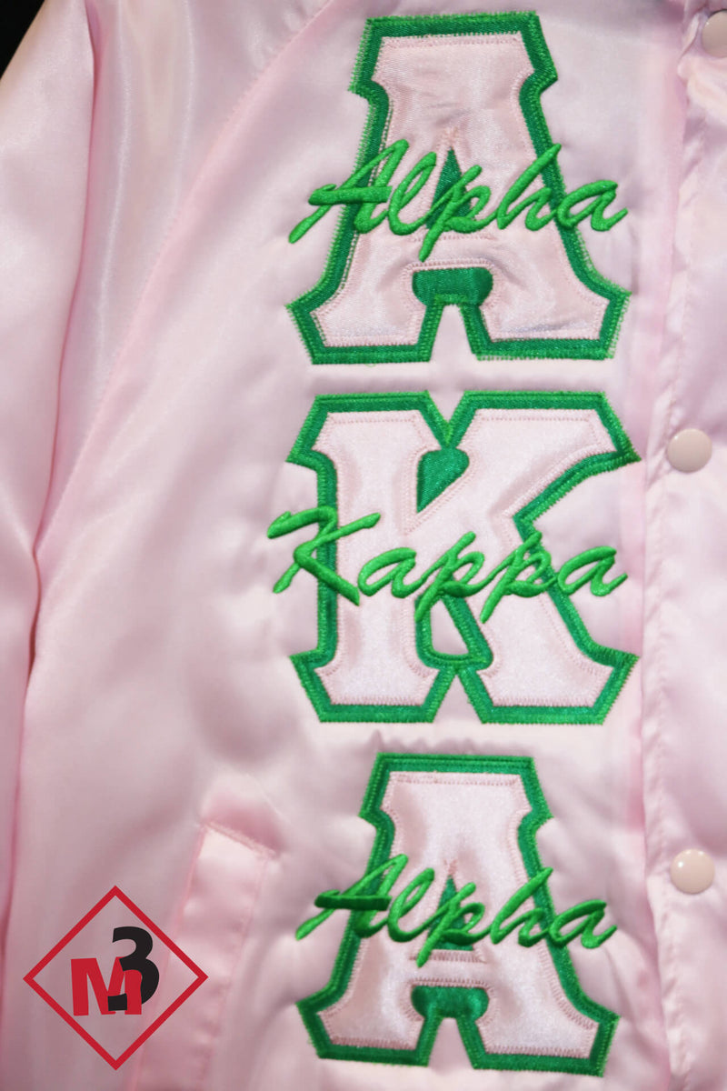 Satin Baseball Jacket - Alpha Kappa Alpha™ -Greek_Paraphernalia - M3 Greek
