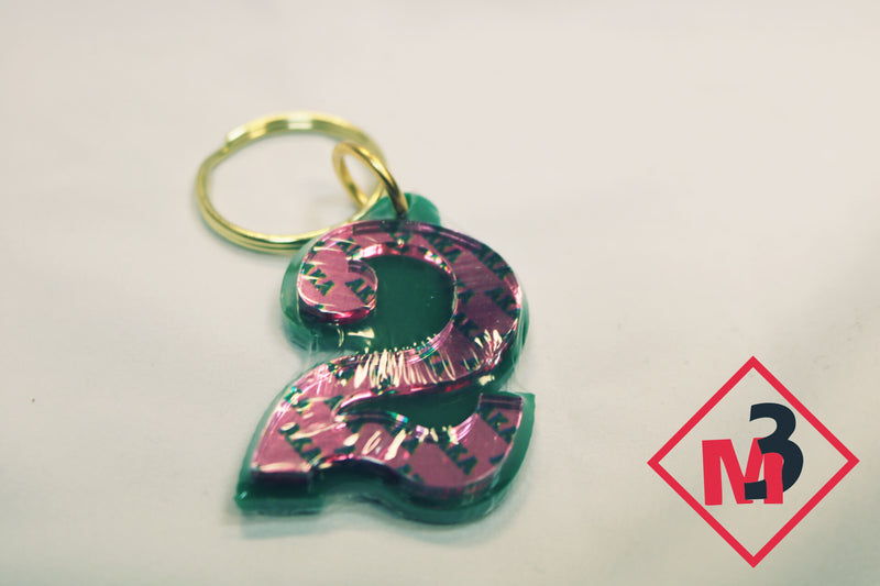 Line Number Key Chains - Alpha Kappa Alpha™ -Greek_Paraphernalia - M3 Greek