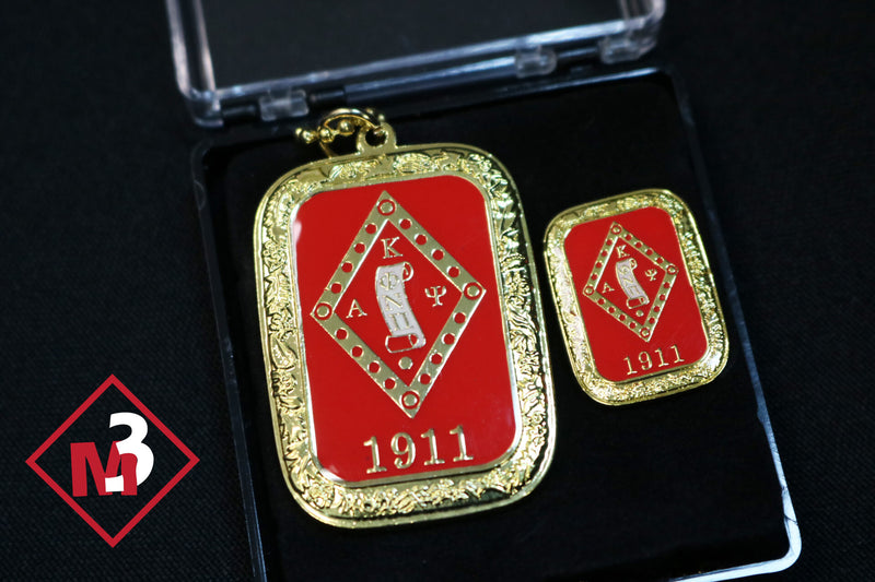 Diamond Scroll Dog Tag / Lapel Pin Set - Kappa Alpha Psi - M3 Greek