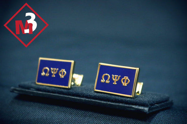 Square CuffLinks - Omega Psi Phi -Greek_Paraphernalia - M3 Greek