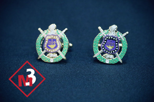 Shield Cufflinks - Omega Psi Phi -Greek_Paraphernalia - M3 Greek