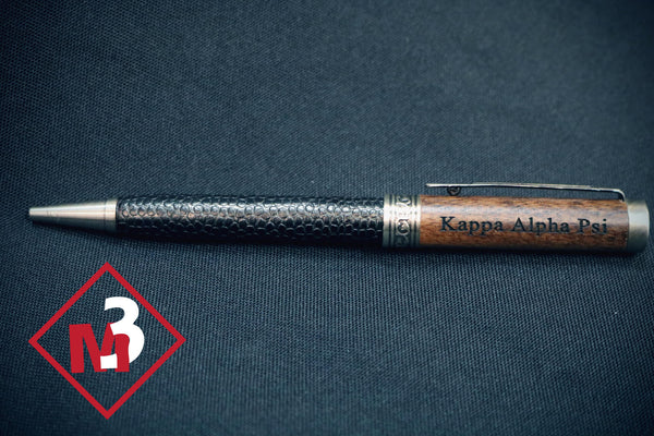 Wood & Leather Pen - Kappa Alpha Psi - M3 Greek