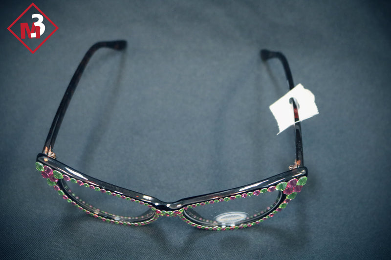Pink/Green Cat Eye Crystal Glasses 1 -Greek_Paraphernalia - M3 Greek