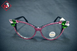 Pink/Green Cat Eye Crystal Glasses 2 - M3 Greek