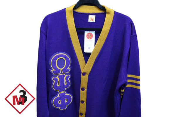 Two Color Cardigan - Omega Psi Phi -Greek_Paraphernalia - M3 Greek