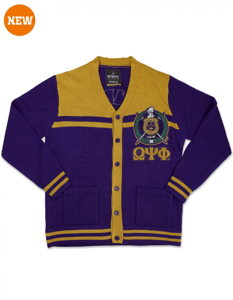Two Color Fraternity Varsity Cardigan Sweater - Omega Psi Phi