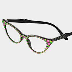Pink/Green Cat Eye Crystal Reading Glasses -Greek_Paraphernalia - M3 Greek