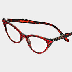 Red Cat Eye Crystal Reading Glasses -Greek_Paraphernalia - M3 Greek