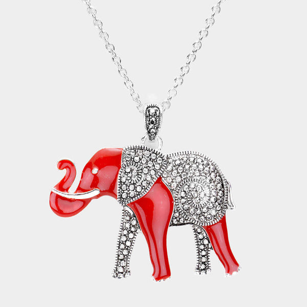 Red elephant Necklace or Earrings