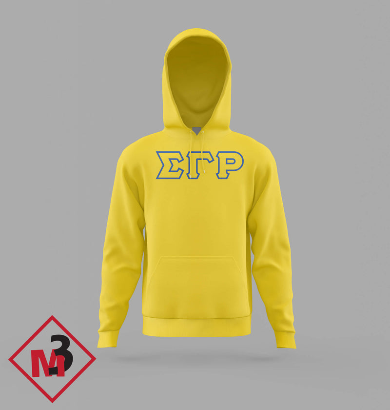 Twill Letter Hoodies - Sigma Gamma Rho -Greek_Paraphernalia - M3 Greek