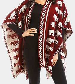 REVERSIBLE ELEPHANT PATTERNED SHAWL PONCHO -Greek_Paraphernalia - M3 Greek