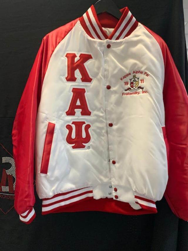 White/Red Two-Color Satin Baseball Jacket - Kappa Alpha Psi