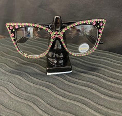 Pink/Green  Oval Cat Eye edge Crystal Glasses