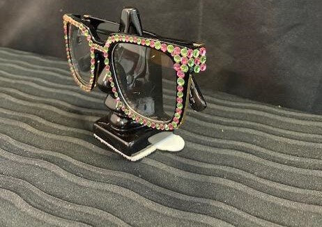 Pink/Green Square Crystal Glasses