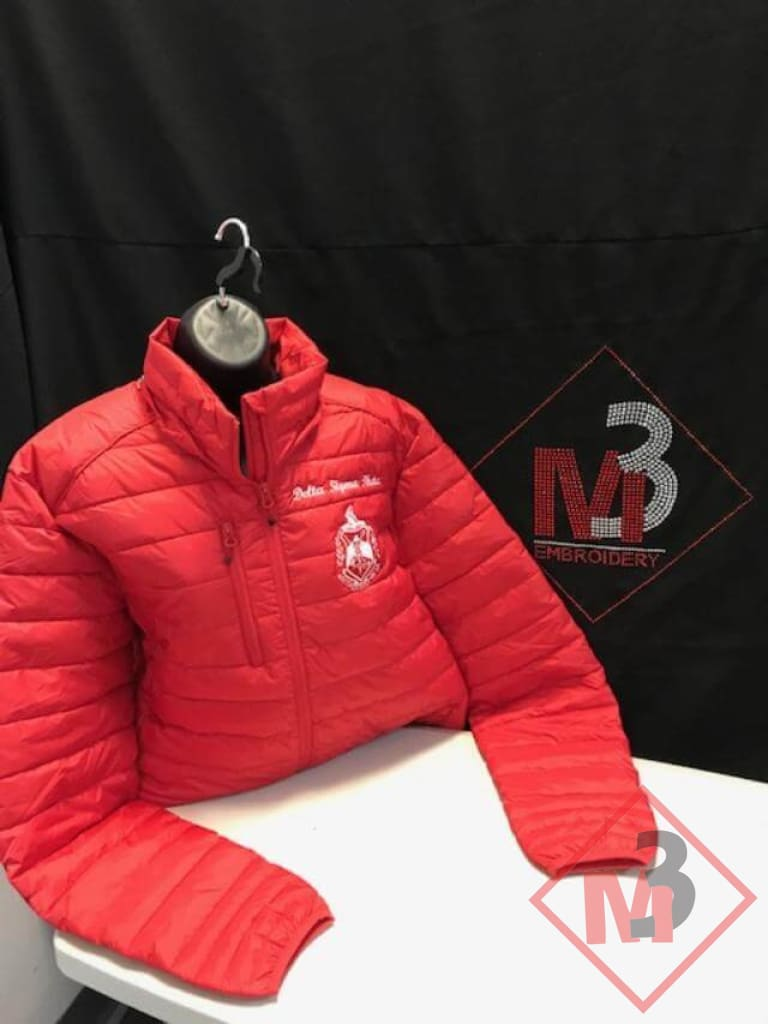 M3GREEK®️ Custom Red Padded Jacket with removable hood- Delta Sigma Theta®️ -Greek_Paraphernalia - M3 Greek