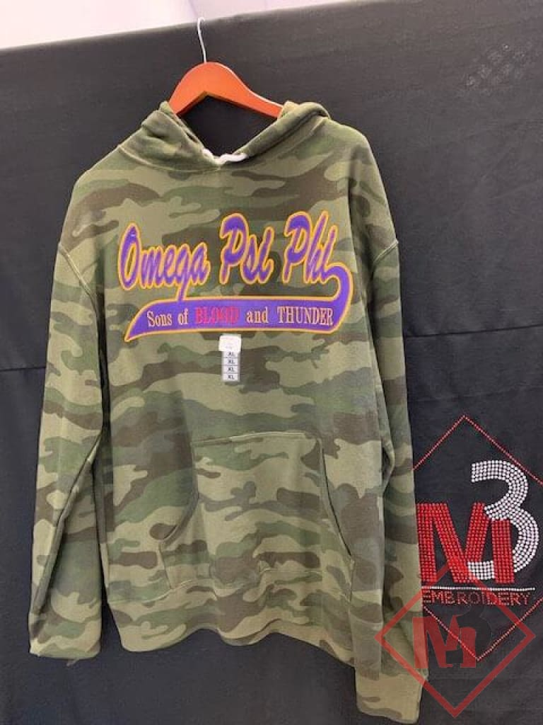 Custom Twill Tail Camo Hoodie - Omega Psi Phi® Cardigans / Hoodies Fleece