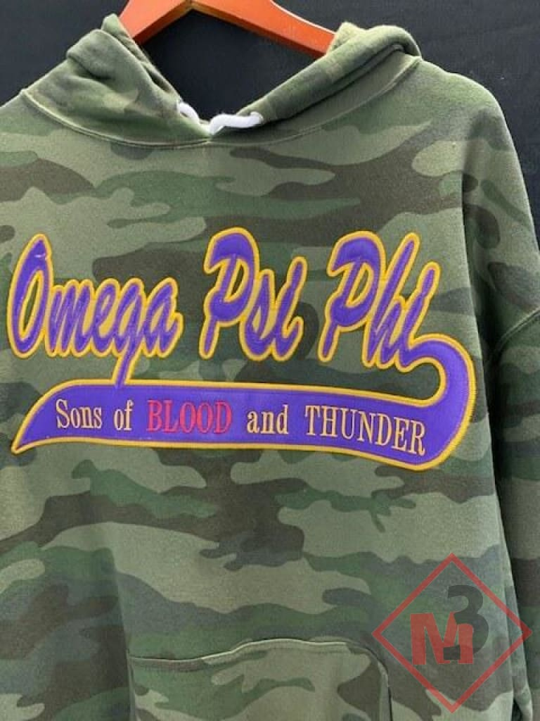 Custom Twill Tail Camo Hoodie - Omega Psi Phi® M / Cardigans Hoodies Fleece
