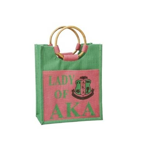 Mini Jute Bag - Alpha Kappa Alpha™ -Greek_Paraphernalia - M3 Greek