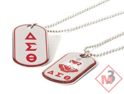 Double Sided Greek Letter Dog Tags with epoxy coating- Delta Sigma Theta®️ -Greek_Paraphernalia - M3 Greek