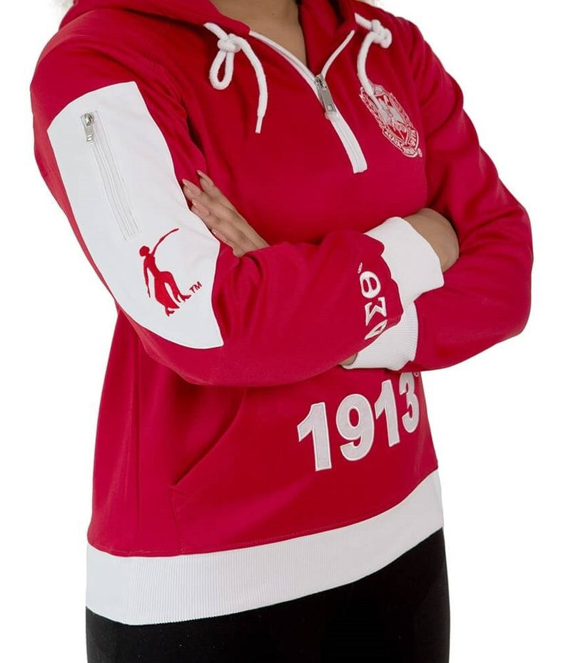 Pre-Decorated Quarter Zip Greek Letter Hoodie - Delta Sigma Theta™ -Greek_Paraphernalia - M3 Greek