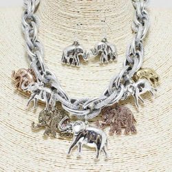 Silver/Gold Elephant Statement Necklace Set OR Bracelet -Greek_Paraphernalia - M3 Greek