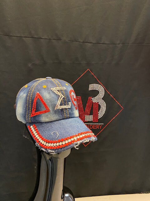 Delta Sigma Theta®️ Bling Baseball Cap -Greek_Paraphernalia - M3 Greek