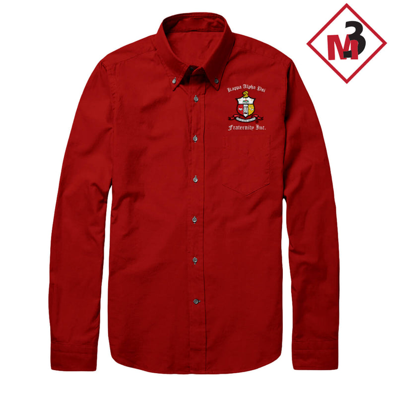 Kappa Alpha Psi Long Sleeve Twill Dress Shirt -Greek_Paraphernalia - M3 Greek