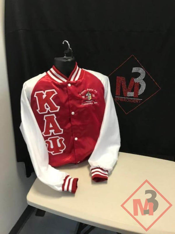 Newly Re-Designed Two-Color Satin Baseball Jacket - Kappa Alpha Psi Crossing Jackets