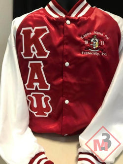 Red/White Two-Color Satin Baseball Jacket - Kappa Alpha Psi -Greek_Paraphernalia - M3 Greek