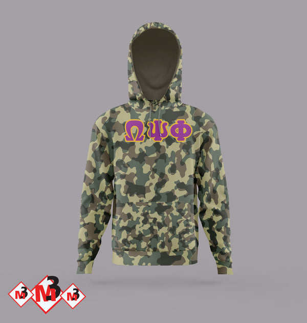 Twill Camo Hoodie - Omega Psi Phi®️ -Greek_Paraphernalia - M3 Greek