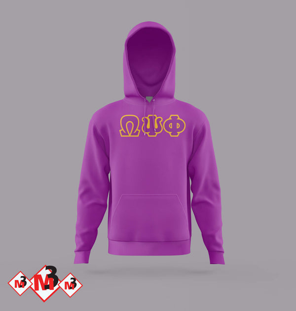 Twill Letter Hoodies - Omega Psi Phi -Greek_Paraphernalia - M3 Greek
