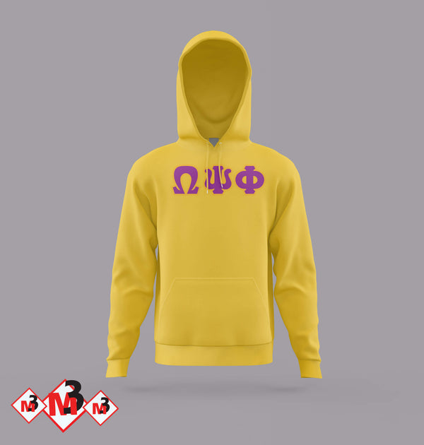 Twill Letter Hoodies - Omega Psi Phi®️ -Greek_Paraphernalia - M3 Greek