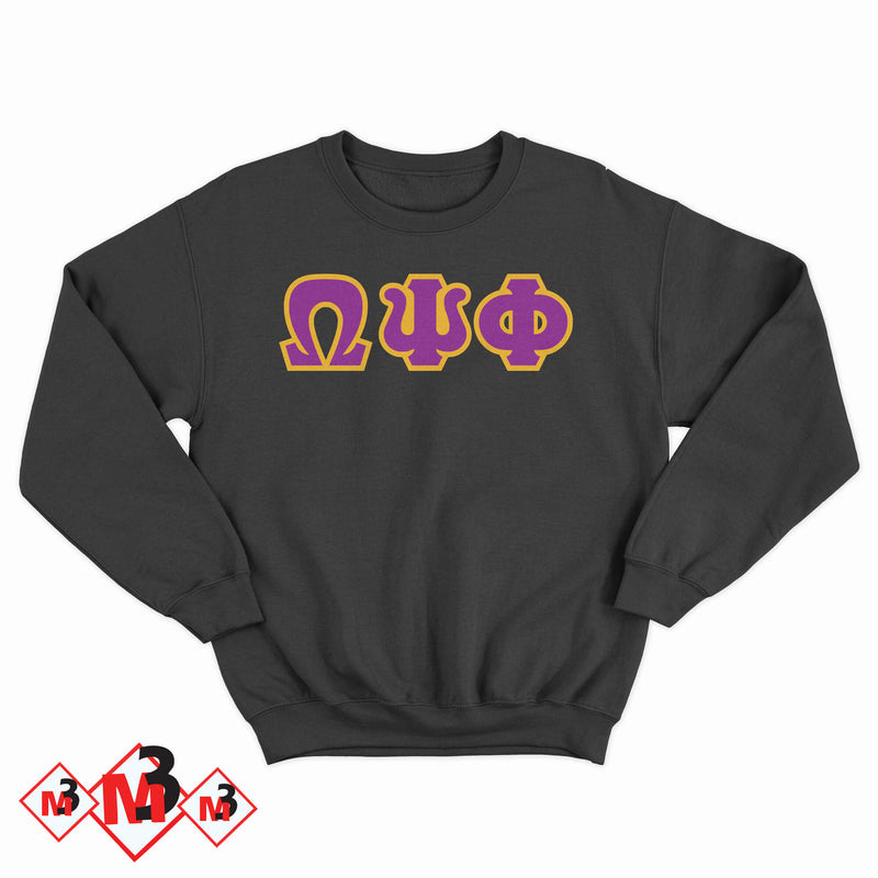 Twill Letter Sweatshirt- Omega Psi Phi - M3 Greek