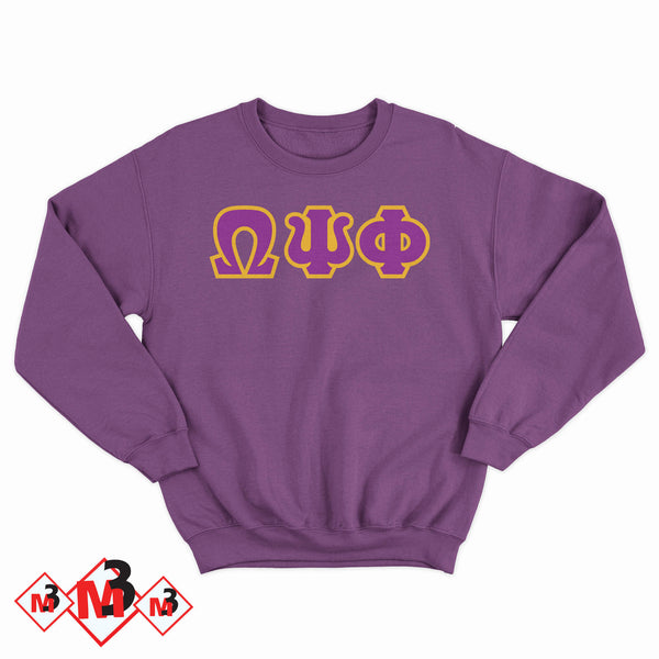Twill Letter Sweatshirt- Omega Psi Phi -Greek_Paraphernalia - M3 Greek
