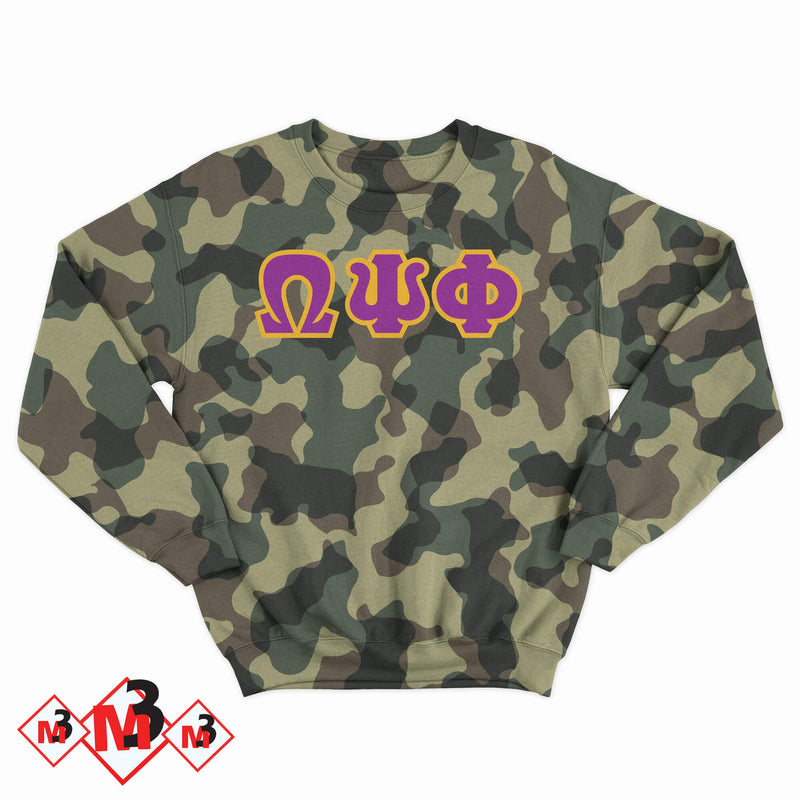 Twill Camo Sweatshirt- Omega Psi Phi - M3 Greek