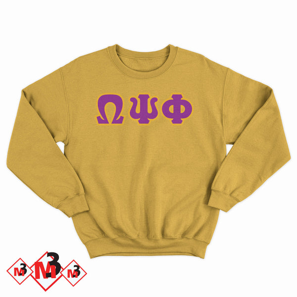 Twill Letter Sweatshirt- Omega Psi Phi®️ -Greek_Paraphernalia - M3 Greek