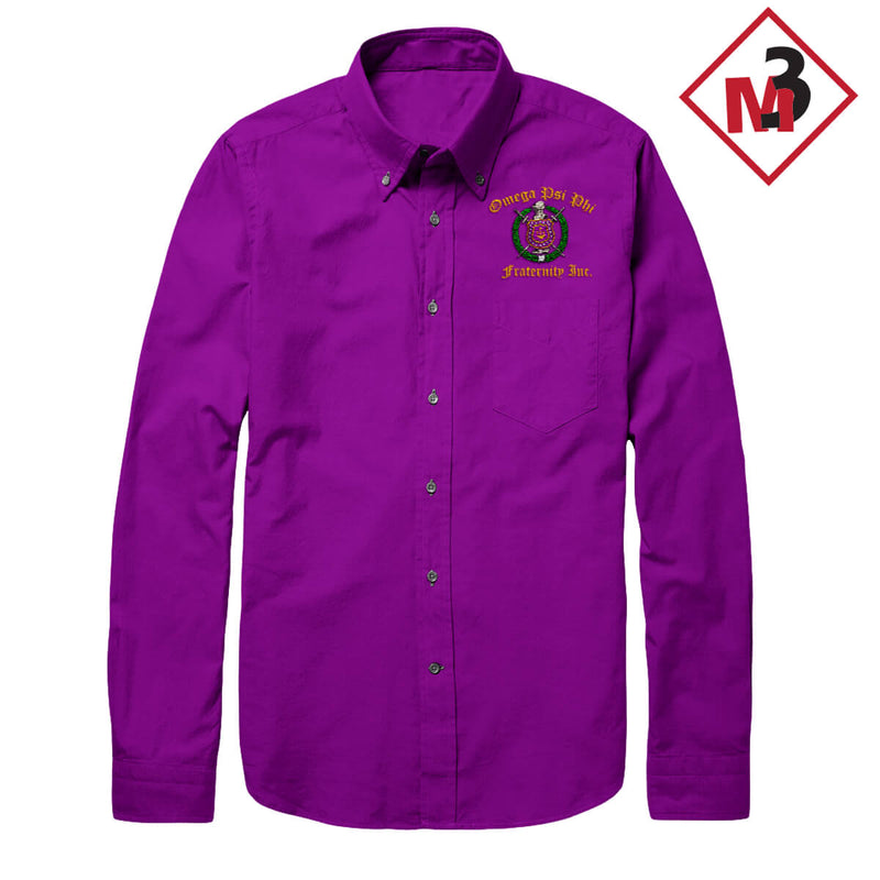 Long Sleeve Dress Shirt - Omega Psi Phi -Greek_Paraphernalia - M3 Greek