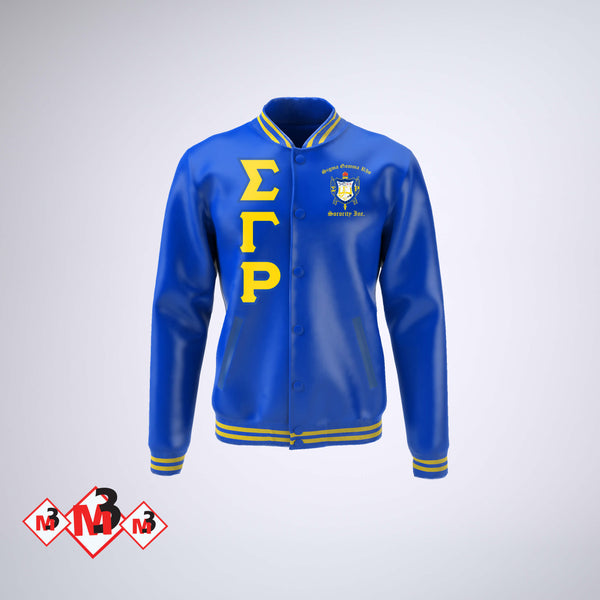 Satin Baseball Jacket - Sigma Gamma Rho -Greek_Paraphernalia - M3 Greek