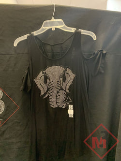 Cold Shoulder String back Elephant design top -Greek_Paraphernalia - M3 Greek