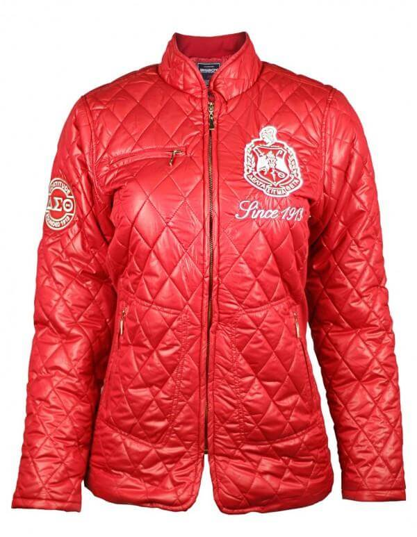 Red Padded Jacket- Delta Sigma Theta™ -Greek_Paraphernalia - M3 Greek
