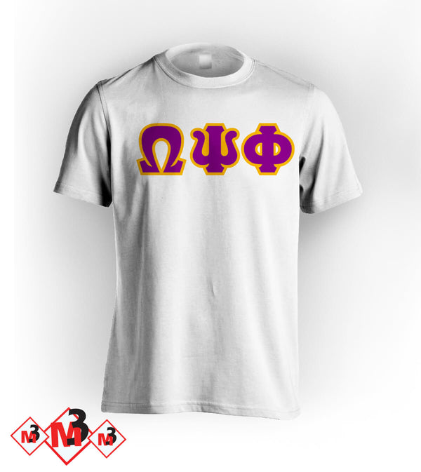 Twill Letter Tee - Omega Psi Phi®️ -Greek_Paraphernalia - M3 Greek