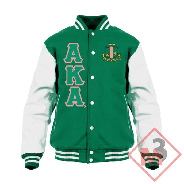 Varsity Letterman Jacket- Alpha Kappa Alpha®️ -Greek_Paraphernalia - M3 Greek