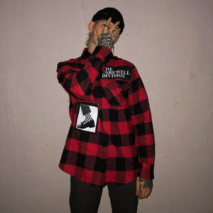 """cataclysm"" patchwork flannel"