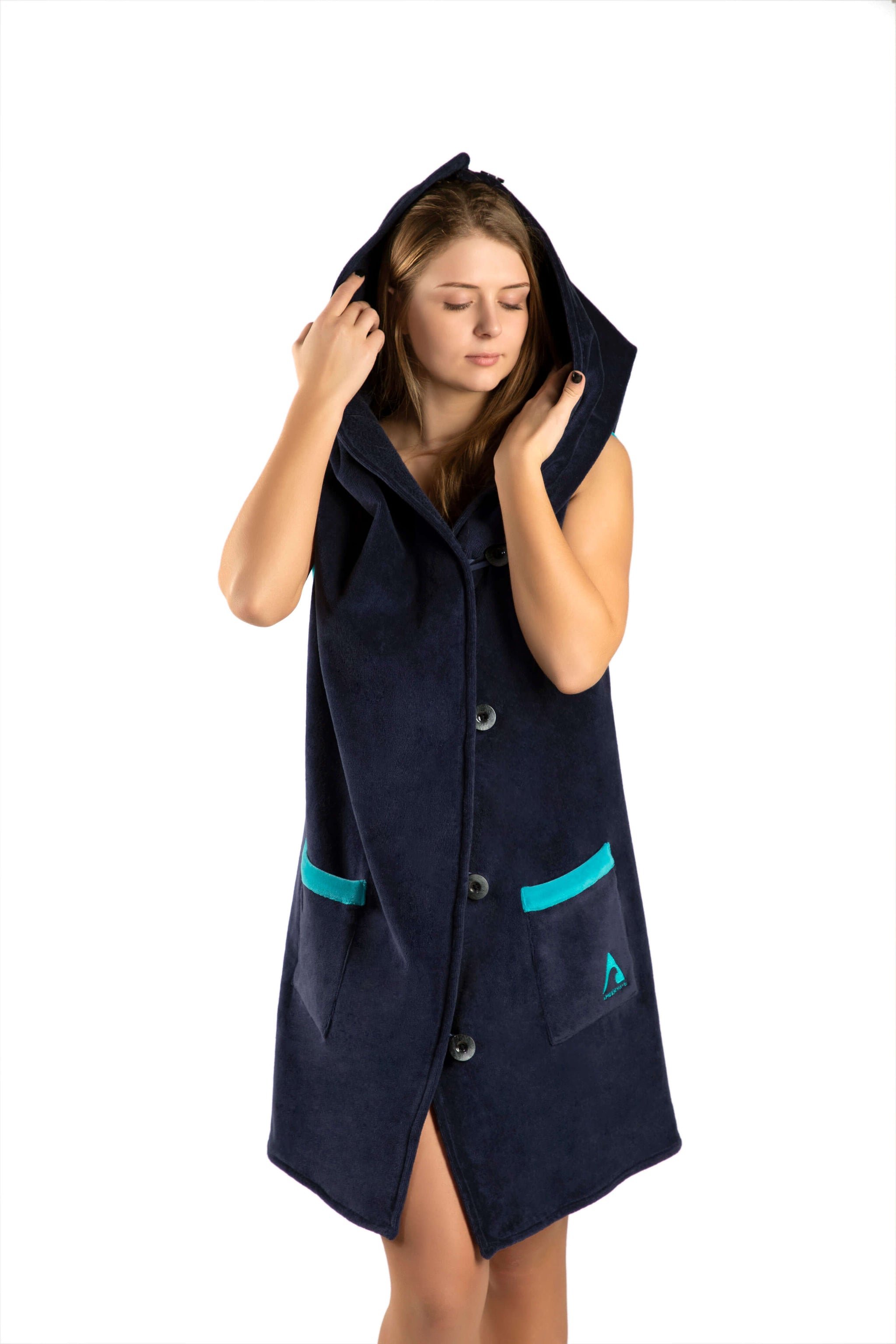 AMBER Wearable Towel - Navy Blue