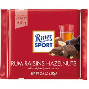 Ritter Sport Milk Chocolate with Rum Raisins & Hazelnuts