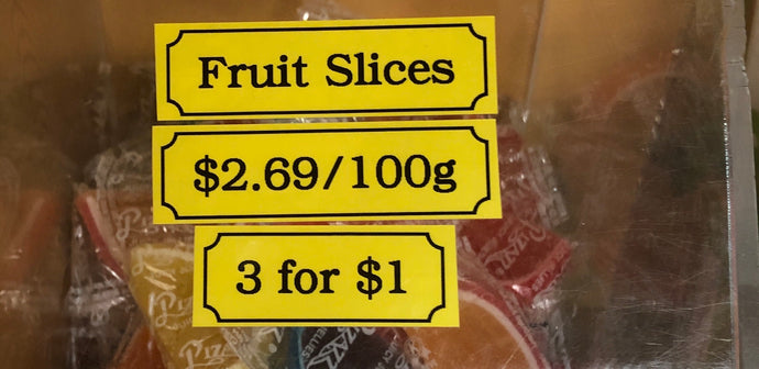 Fruit Slices individually wrapped 100g $2.69 or 3/$1.00