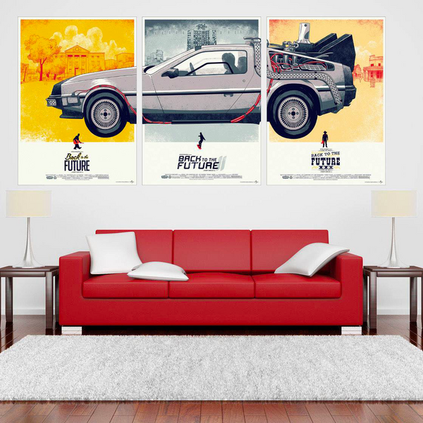 DeLorean 3-Panel Canvas (Back to the Future) - Greenpills